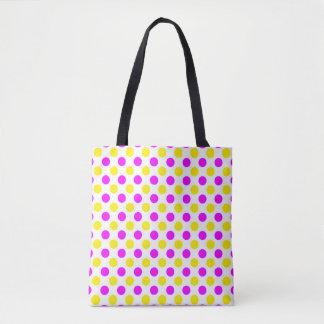 Pink and yellow polka dots tote bag
