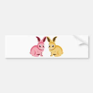 Pink and yellow rabbits bumper sticker