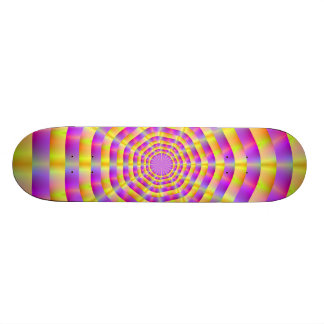 Pink and Yellow Rings Skateboard