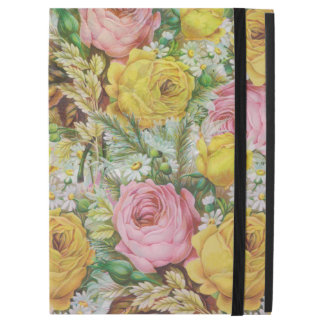 """Pink and yellow rose collarge iPad pro 12.9"""" case"""