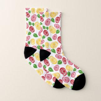 Pink and Yellow Rose Pattern Socks