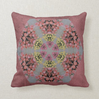 Pink and yellow roses kaleidoscope pattern cushion