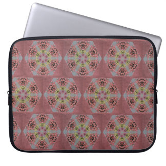 pink and yellow roses kaleidoscope pattern laptop sleeve