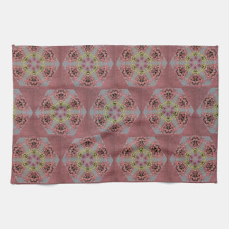 pink and yellow roses kaleidoscope pattern tea towel