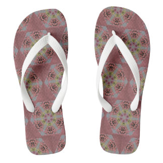 pink and yellow roses kaleidoscope pattern thongs