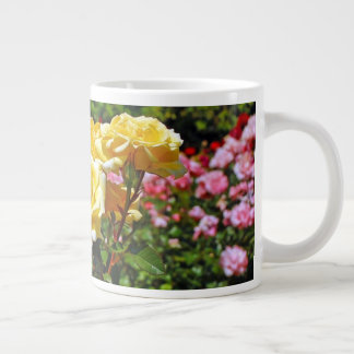 Pink and yellow roses large coffee mug
