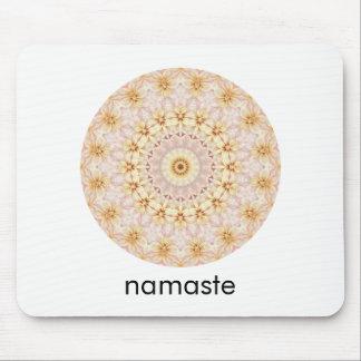 Pink and Yellow Round Mandala Art Namaste Mouse Pad
