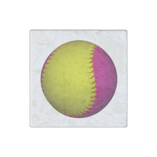 Pink and Yellow Softball Stone Magnet