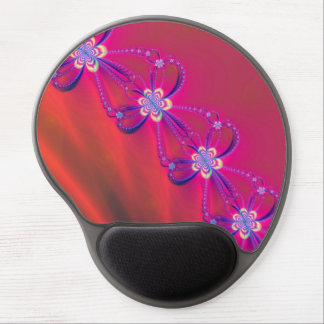 Pink and Yellow Striped Flower Fractal Gel Mouse Mat