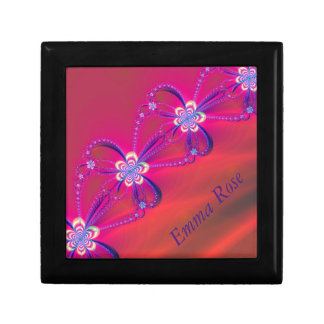 Pink and Yellow Striped Flower Fractal Small Square Gift Box