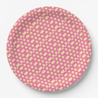 Pink and Yellow Sunshine Paper Plate