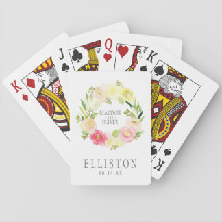 Pink and Yellow Watercolor Floral Wreath | Wedding Playing Cards