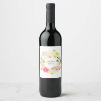 Pink and Yellow Watercolor Floral Wreath | Wedding Wine Label