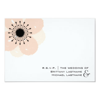 Pink Anemone Modern Wedding R.S.V.P. Card
