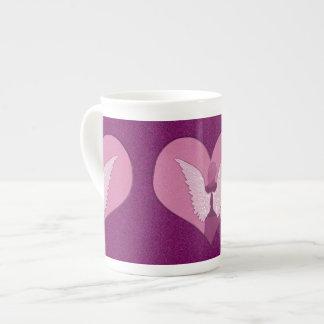 Pink Angel and Heart Bone China Mug