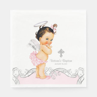 Pink Angel Baby Girl Baptism Christening Paper Serviettes
