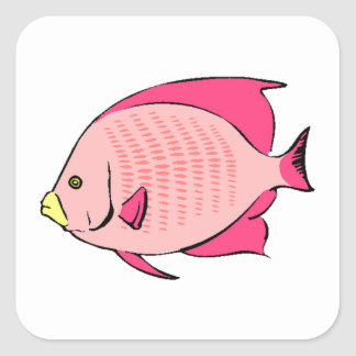 Pink Angel Fish Square Stickers