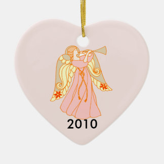 Pink Angel Heart Baby's 1st Christmas Ceramic Heart Decoration