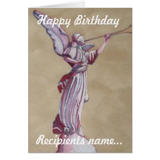 Pink Angel Personalised Happy Birthday Art Card