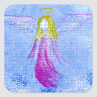 Pink Angel Square Stickers