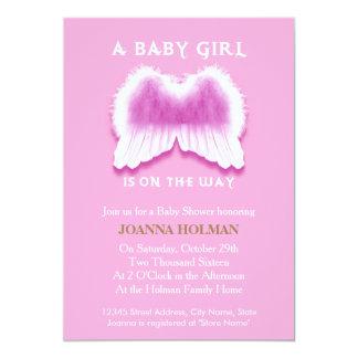 Pink Angel Wings Baby Shower Card