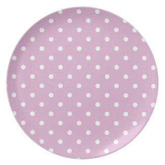 Pink Angora Polka Dot Party Plate