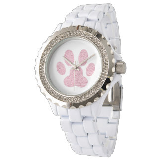 pink animal lover paw print watch
