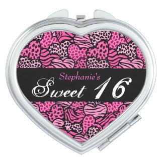 Pink animal pattern hearts Sweet 16 Mirror Travel Mirrors