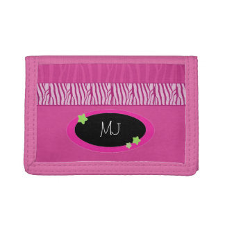 Pink Animal Pattern with Initials Tri-fold Wallets