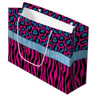 Pink Animal Print Diamond Bridal Shower LG Large Gift Bag