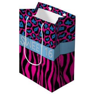Pink Animal Print Diamond Sweet 16 Gift Bag