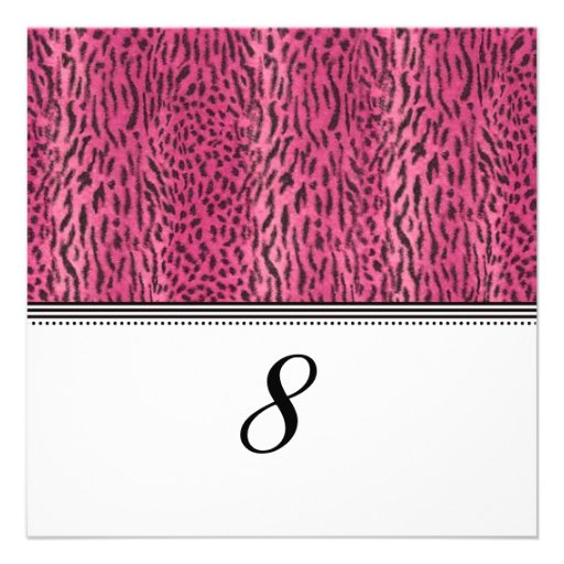Pink Animal Skin Reception Table Number Custom Announcements