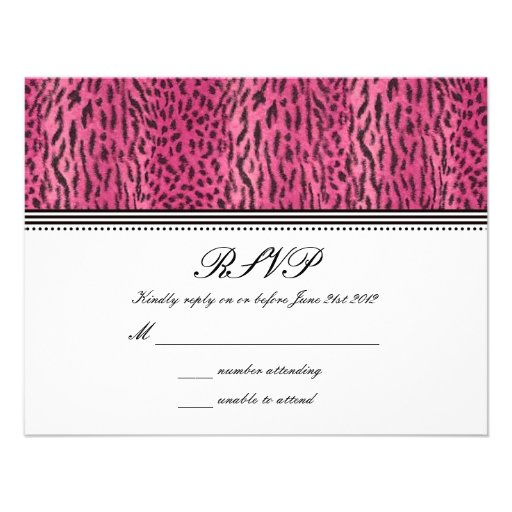 Pink Animal Skin Wedding RSVP Card Announcements