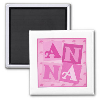 Pink ANNA Blocks Square Magnet