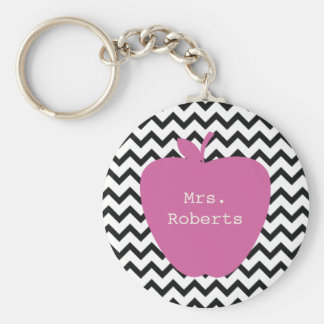 Pink Apple Black Chevron Teacher Key Ring