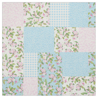 Pink Apple Blossom Floral and Check Faux Patchwork Fabric
