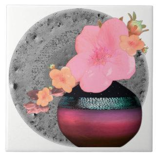 Pink Apple Blossom Floral Motif Tile