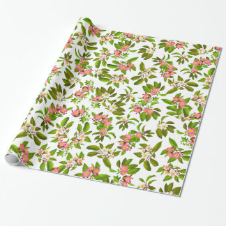Pink Apple Blossom Flowers Wrapping Paper