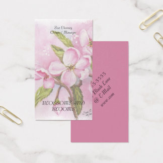 PINK APPLE BLOSSOM WATERCOLOR FLOWER BUSINESS CARD