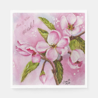 PINK APPLE BLOSSOMS FLOWER MONOGRAMMED DISPOSABLE NAPKIN