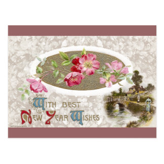 Pink Apple Blossoms Vintage New Year Postcard