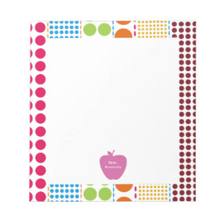 Pink Apple Boho Dots Teacher Notepad