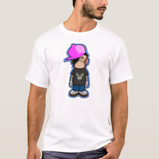 Pink Apple boy in Monkey costume with shadow T-Shirt