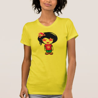 Pink apple girl in Yellow t-shirts