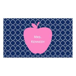 Pink Apple Navy Quatrefoil Pack Of Standard Business Cards