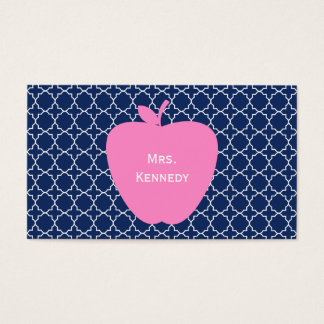 Pink Apple Navy Quatrefoil Business Card