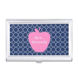 Pink Apple Navy Quatrefoil Case For Business Cards