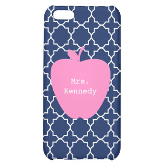 Pink Apple Navy Quatrefoil Cover For iPhone 5C