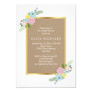 Pink, aqua flowers crafty wedding bridal shower 13 cm x 18 cm invitation card