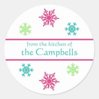 Pink Aqua Lime Snowflake Christmas Gift Tag Round Sticker